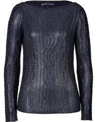 Ralph Lauren Black Label Metallic Silk Boatneck Pullover - Lyst