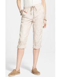 Free People Linen Crop Utility Pants - Lyst