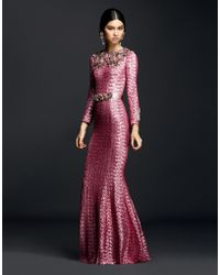 Dolce & Gabbana | Sequin Dress With Crystals And Jeweled Belt | Lyst