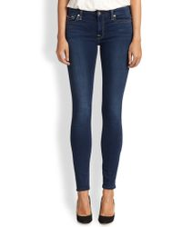 7 For All Mankind Mid-Rise Skinny Slim Illusion Jeans - Lyst