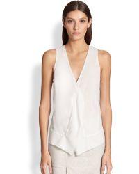 Donna Karan New York Draped Stretch Silk Blouse - Lyst