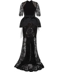 Alessandra Rich Silkcrepe Dress with Satin Jacquard and Lace - Lyst