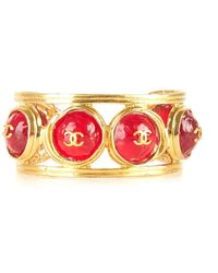 Chanel Pre-Owned Gold Cuff With Red Gripoix - Lyst