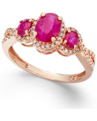 Macy's Us Ruby (1-1/3 Ct. T.W.) And Diamond (1/4 Ct. T.W.) Three-Stone Ring In 14K Rose Gold - Lyst