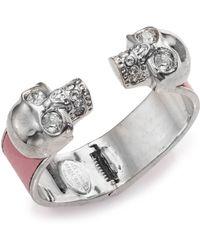 Alexander McQueen Leather-Inset Double Skull Cuff Bracelet/Silvertone silver - Lyst