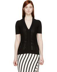 Burberry London Black Pleated T_Shirt - Lyst