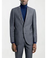 Topman Navy Textured Slim Suit Jacket - Lyst