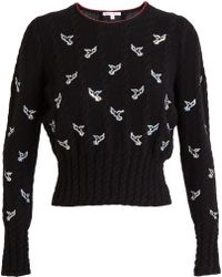 Olympia Le-Tan Cableknit Jumper with Sequin Birds - Lyst