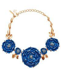 Oscar de la Renta Rosebud Necklace - Lyst