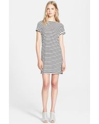 Alice + Olivia Roll-Sleeve Striped Jersey Tunic Dress - Lyst
