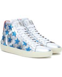 Saint Laurent Metallic Leather High-Top Sneakers - Lyst