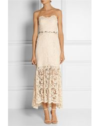 Notte By Marchesa Strapless Embellished Lace Midi Dress - Lyst