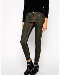 Asos Lisbon Skinny Mid Rise Ankle Grazer Jeans In Mulled Plaid Print - Lyst