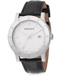 Versace Acron Stainless Steel  Croc-embossed Leather Watch - Lyst