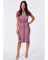 Missguided Satsuko Lace Panel Midi Dress Purple - Lyst