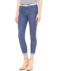 7 For All Mankind The High Waist Ankle Skinny Jeans Indigo Twill - Lyst