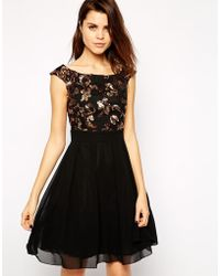 Little Mistress Embellished Bardot Skater Dress - Lyst