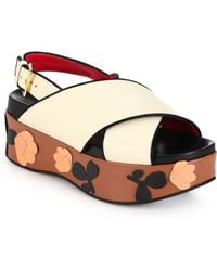Marni Floral-Paneled Leather Sandals beige - Lyst