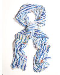 Simeon Farrar - Long Chiffon Scarf in Blue Stripe with Flowers  - Lyst