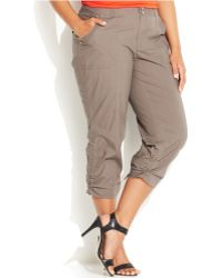 Inc International Concepts Plus Size Ruched Cargo Pants - Lyst
