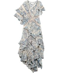 Zimmermann Tarot Marble-Print Ruffled Silk Dress - Lyst