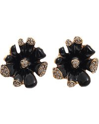 Oscar de la Renta Orchid Enamel Clip Earrings - Lyst