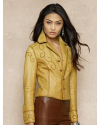 Ralph Lauren Blue Label Whipstitched Leather Jacket - Lyst