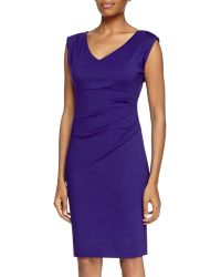 Diane von Furstenberg V-Neck Ruched Waist Dress - Lyst
