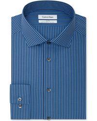 Calvin Klein Steel Non-iron Slim-fit Yacht Club Blue Checked Performance Dress Shirt - Lyst