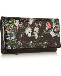 McQ by Alexander McQueen Floral-print Patent and Textured-leather Clutch - Lyst