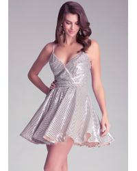 Bebe Sequin Fit & Flare Dress - Lyst