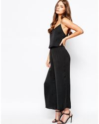 First & I - Cropped Lace Back Detail Jumpsuit - Lyst