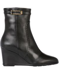 Ferragamo 70mm Navy Leather Wedge Heel Ankle Boots - Lyst