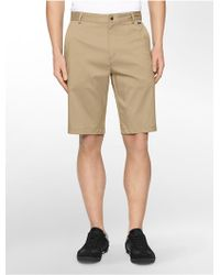 Calvin Klein White Label Performance Classic Fit Solid Twill Shorts khaki - Lyst