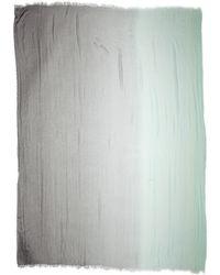 Donna Karan - Fringed Two Tone Scarf - Platinum/Chalk - Lyst