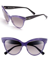 Dior Women'S 'Mohotani' 58Mm Cat Eye Sunglasses - Stiped Violet - Lyst