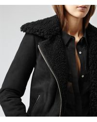 Reiss Zaina Shearling Leather Jacket - Lyst