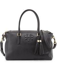 Tory Burch Thea Leather Zip Satchel Bag Black - Lyst