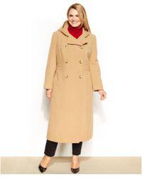 Anne Klein Plus Size Hooded Doublebreasted Maxi Walker Coat - Lyst