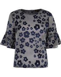River Island Navy Floral Print Frill Sleeve Top - Lyst