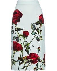 Dolce & Gabbana Rose-Print Cady Pencil Skirt green - Lyst
