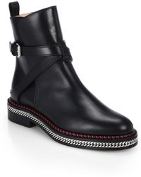Christian Louboutin Chelsea Chain-detail Leather Ankle Boots - Lyst