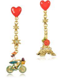 Les Nereides - Paris Mon Amour Heart Drop Earrings - Lyst
