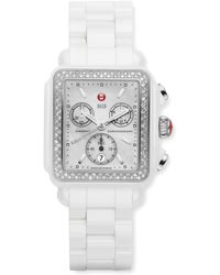 Michele - Ceramic Deco Diamond Watch - Lyst