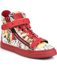 Giuseppe Zanotti Mens Comic Strip High-Top Sneaker - Lyst