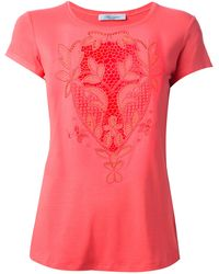 Blumarine Cut-Out Embroidered T-Shirt - Lyst