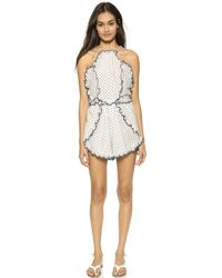 Zimmermann Ceramic Pinafore Romper - Dot - Lyst