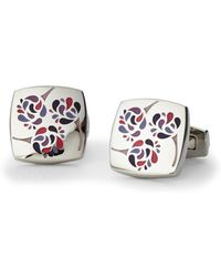 Duchamp | Silver-Tone Square Floral Cuff Links | Lyst