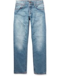 Nudie Jeans Steady Eddie Slim-Fit Washed Organic Denim Jeans - Lyst