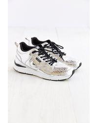 Gourmet - Silver Croc Leather Sneaker - Lyst